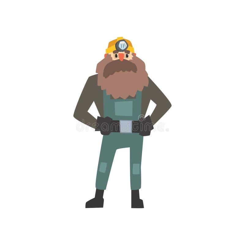 Brodata górnik pozycja z rękami akimbo ilustracja wektor