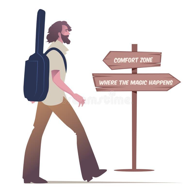 Brodatego młodego człowieka chodzący przewożenie gitara jego plecy i drewniana szyldowa poczta z motywacyjną wiadomością royalty ilustracja