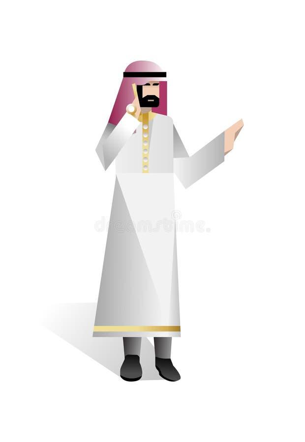 Brodaty arabski biznesmen opowiada na telefonie royalty ilustracja