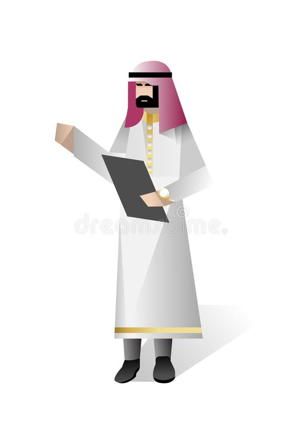 Brodaty arabski biznesmen z czek listą ilustracja wektor