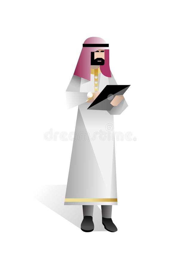Brodaty arabski biznesmen z pastylka komputerem ilustracji