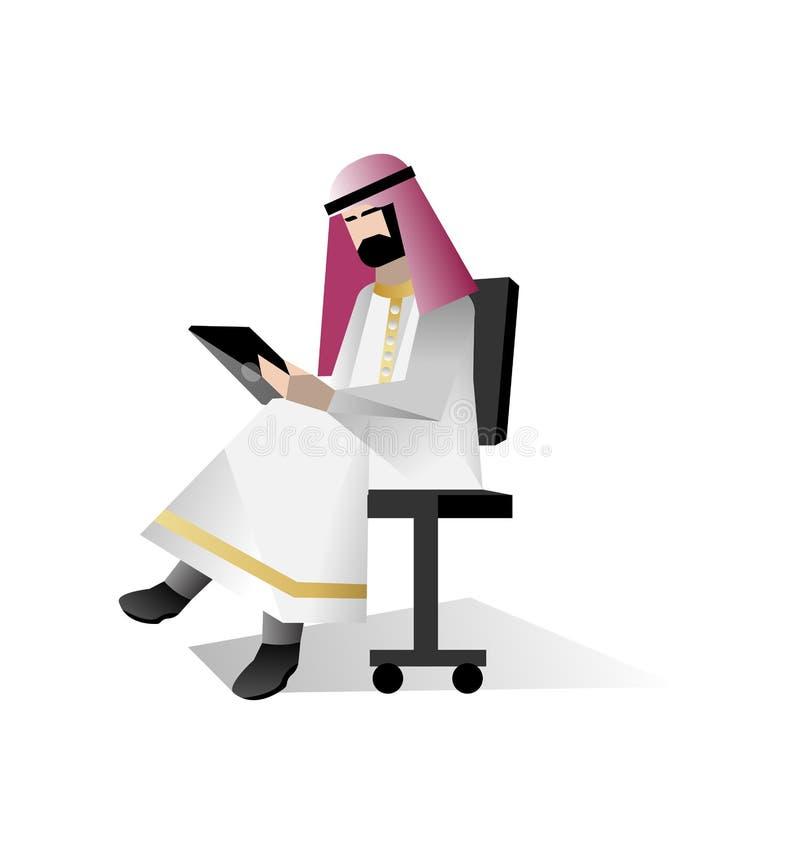 Brodaty arabski biznesmen z pastylka komputerem ilustracja wektor