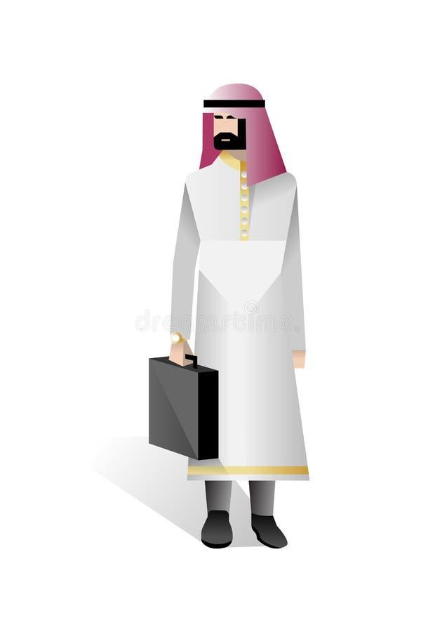 Brodaty arabski biznesmen z rzemienną walizką ilustracja wektor