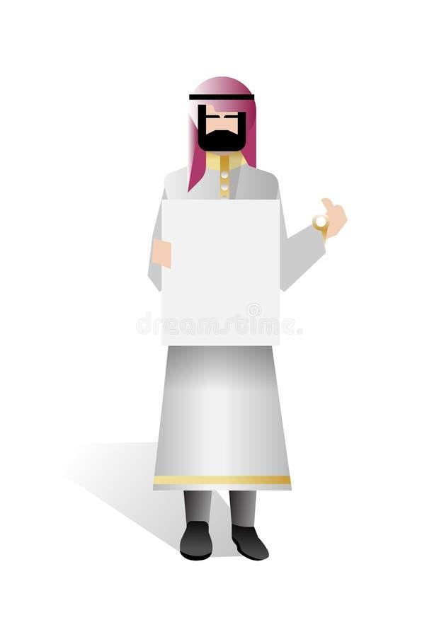Brodaty arabski biznesmena mienia whiteboard ilustracji