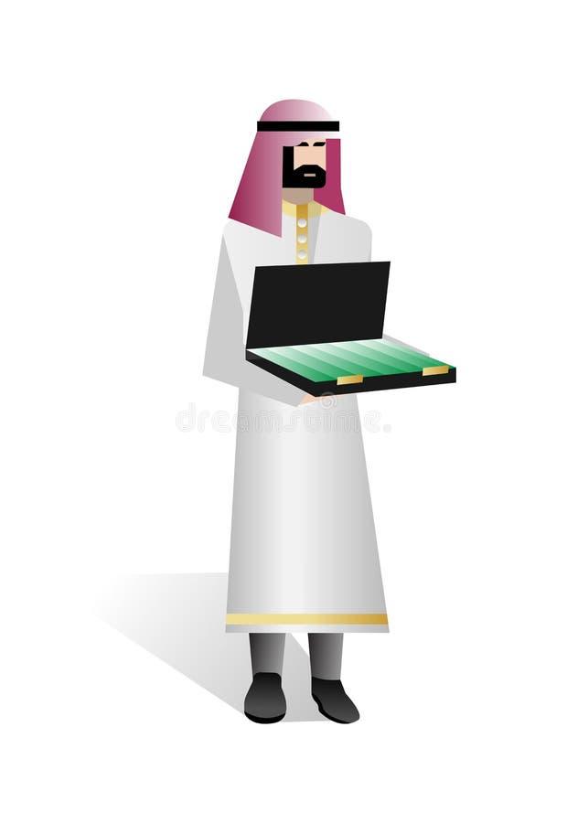 Brodaty arabski inwestor z otwartą walizką ilustracji
