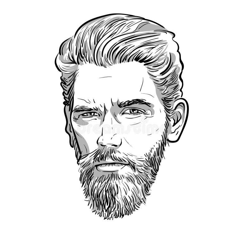Brodaty elegancki mężczyzny portret Lineart wektor ilustracja ilustracji