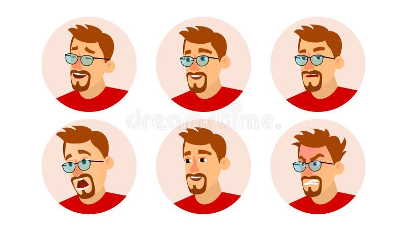 Brodaty mężczyzna Avatar wektor Charakteru Avatar ludzie biznesu Twarzy emocje Ustawiać Kreskówka, Komiczna sztuki ilustracja royalty ilustracja
