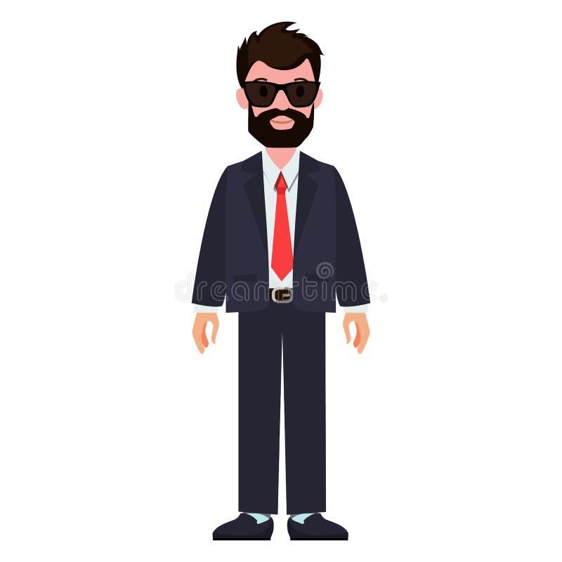 Brodaty mężczyzna Jest ubranym kostium, Wektorowa ilustracja ilustracji