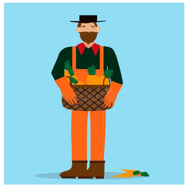 Brodaty mężczyzna mienia kosz z marchewkami ilustracji