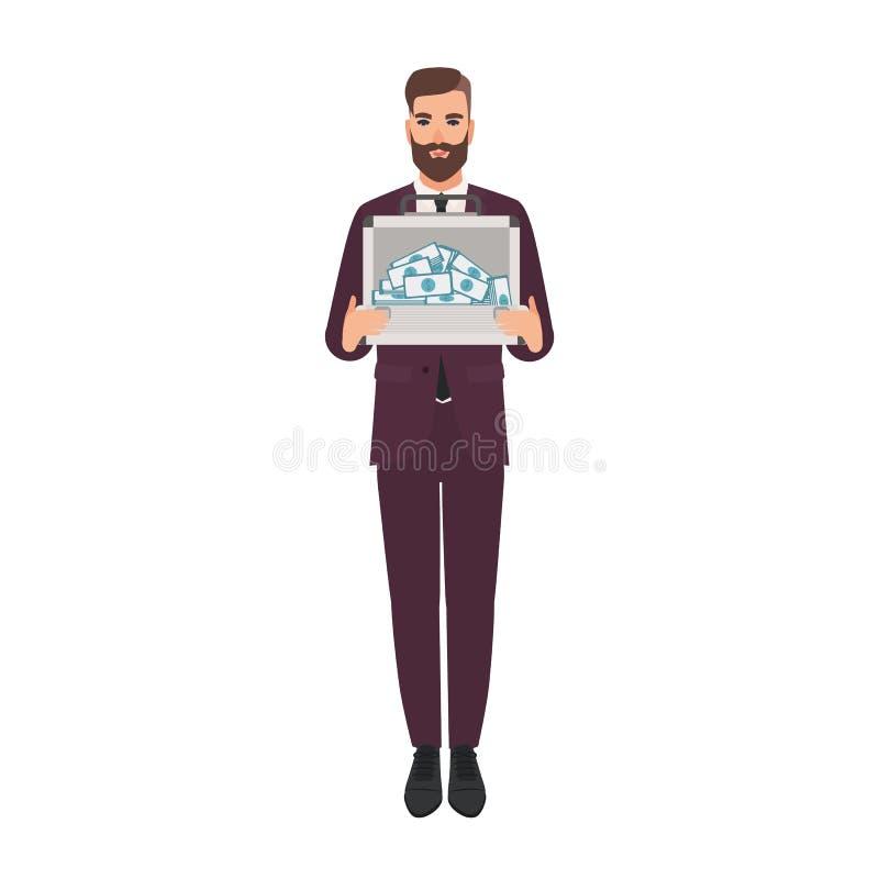 Brodaty mężczyzna ubierał w eleganckiej garnituru mienia teczce pieniądze pełno Bogaty biznesmen, milioner samiec ilustracji