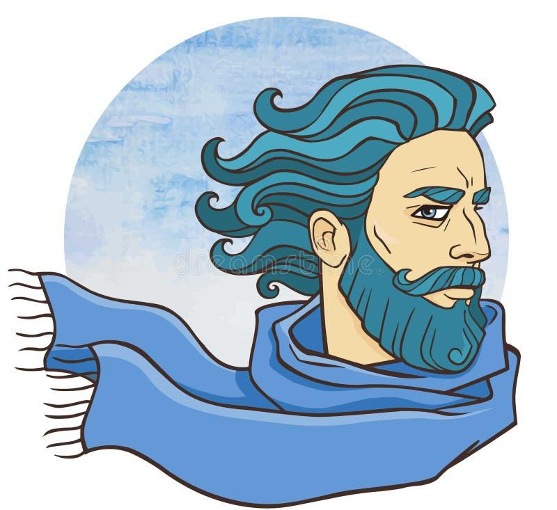 Brodaty mężczyzna w szaliku ilustracja wektor