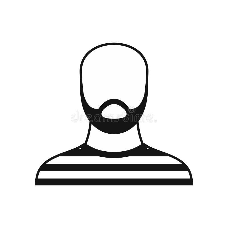 Brodaty mężczyzna w więźniarskiej strój ikonie, prosty styl royalty ilustracja
