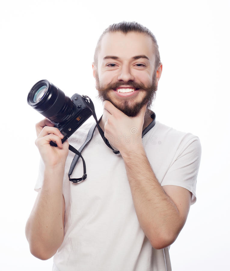 Download Brodaty Mężczyzna Z Cyfrową Kamerą Obraz Stock - Obraz złożonej z mienie, dorosły: 53787771