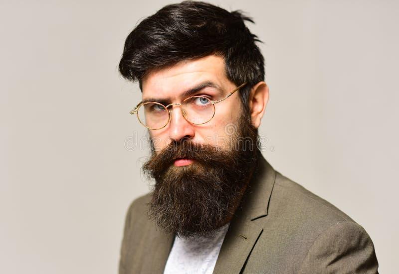 Brodaty mężczyzna z eleganckim włosy Modniś z długą brodą i wąsy na nieogolonej twarzy Biznesmen w kostiumu Mężczyzna nauczyciel zdjęcia royalty free