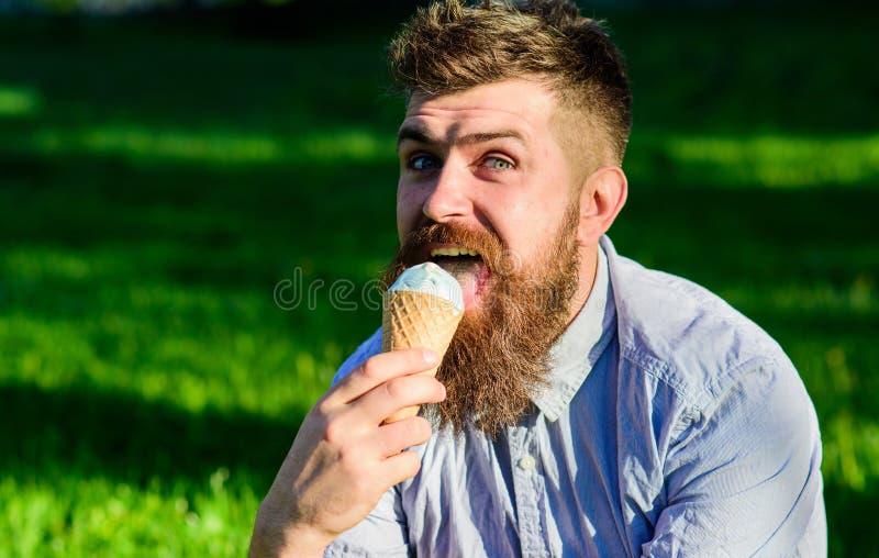 Brodaty mężczyzna z lody rożkiem Mężczyzna z brodą i wąsy na szczęśliwej twarzy liże lody, trawa na tle obraz stock
