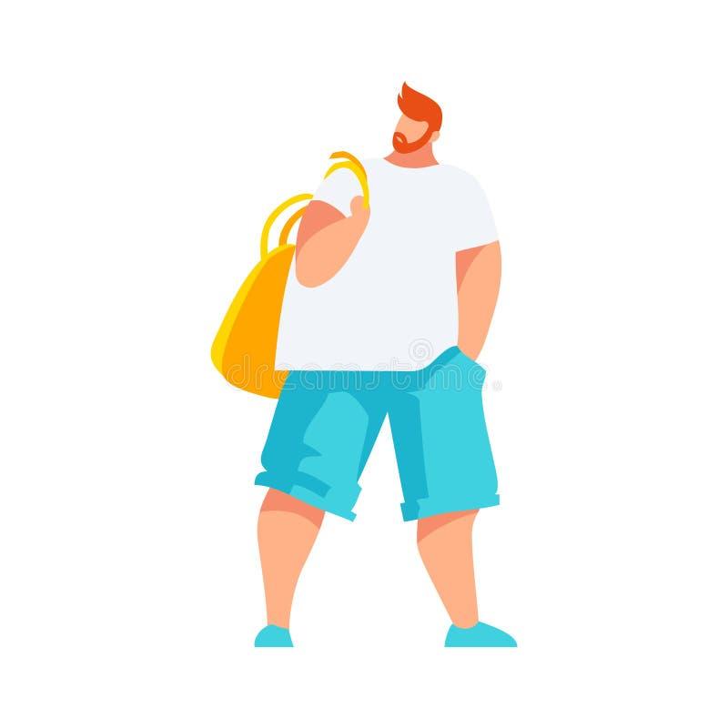 Brodaty mężczyzna z plecakiem ilustracji