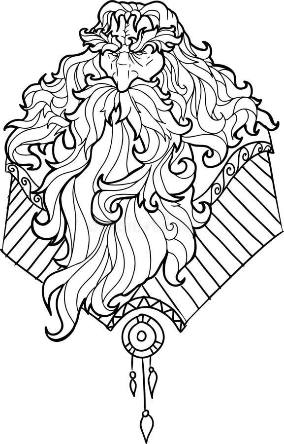Brodaty mężczyzna z wąsy dla dorosłych kolorystyk stron obraz stock