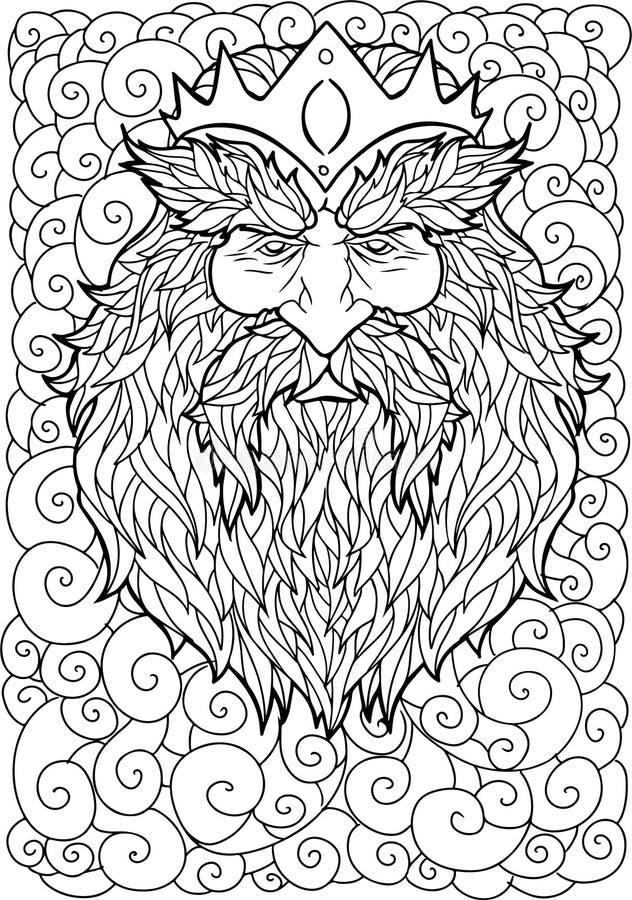 Brodaty mężczyzna z wąsy i korona dla dorosłe kolorystyki strony antistress, tatuaż sztuka obraz royalty free