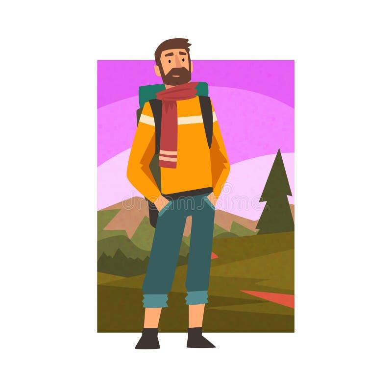Brodaty mężczyzny podróżowanie z plecakiem, Męski podróżnik w lato góry krajobrazie, Plenerowa aktywność, podróż, Obozuje ilustracji