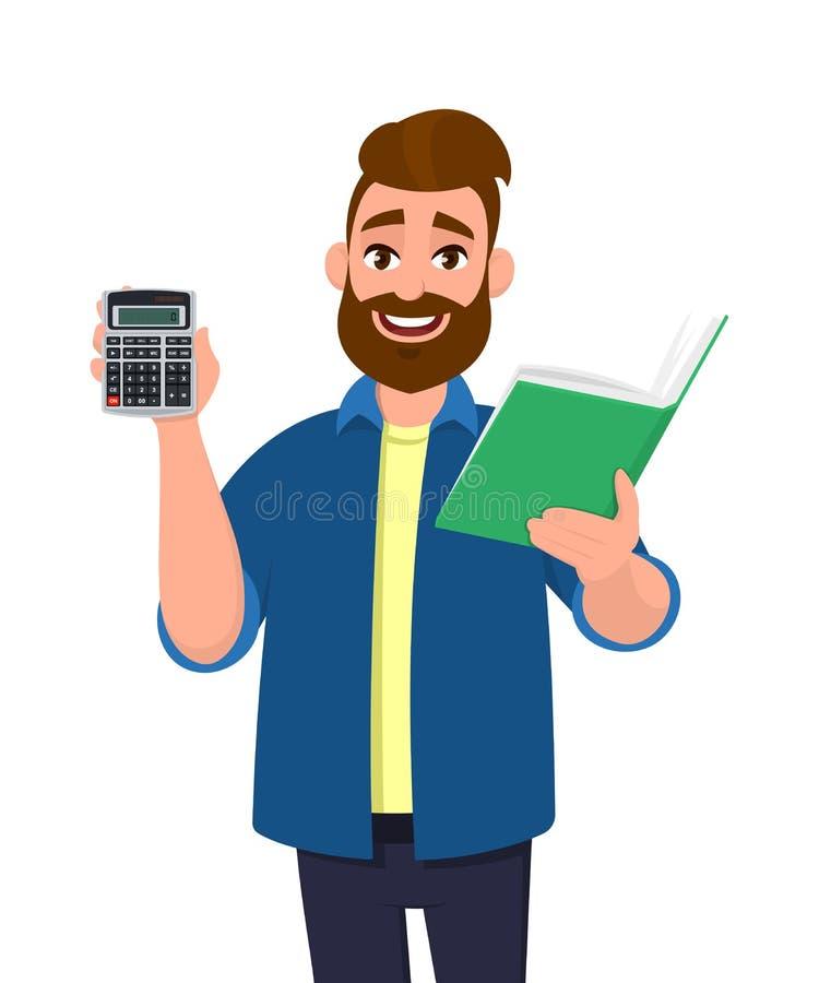 Brodaty mężczyzny seans, mienie kalkulatora cyfrowy przyrząd, książka, raport, dokument, falcówka lub kartoteka w ręce, nowoczesn royalty ilustracja
