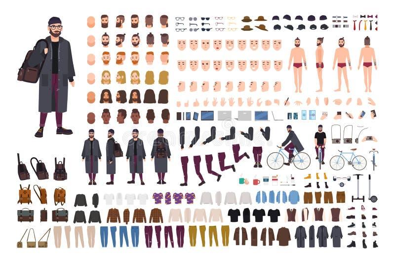 Brodaty modnisia faceta tworzenia set lub DIY zestaw Kolekcja płaskie postaci z kreskówki części ciałe, modna odziewa ilustracji