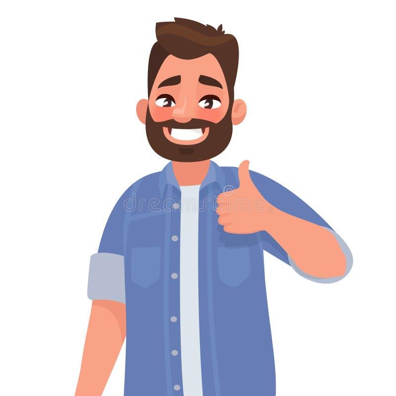 Brodaty szczęśliwy mężczyzna pokazuje kciuk up Gest chłodno ilustracji