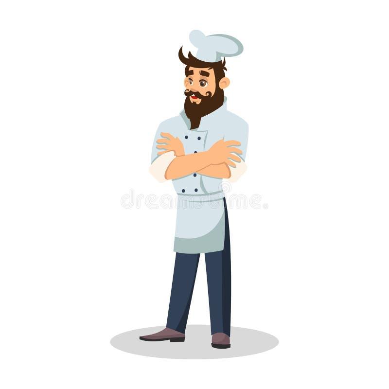 Brodaty szef kuchni w kucbarskiej nakrętce rozochocony kelner Karmowy serwer w mundurze ch?opiec kresk?wka zawodz?cy ilustracyjny ilustracji