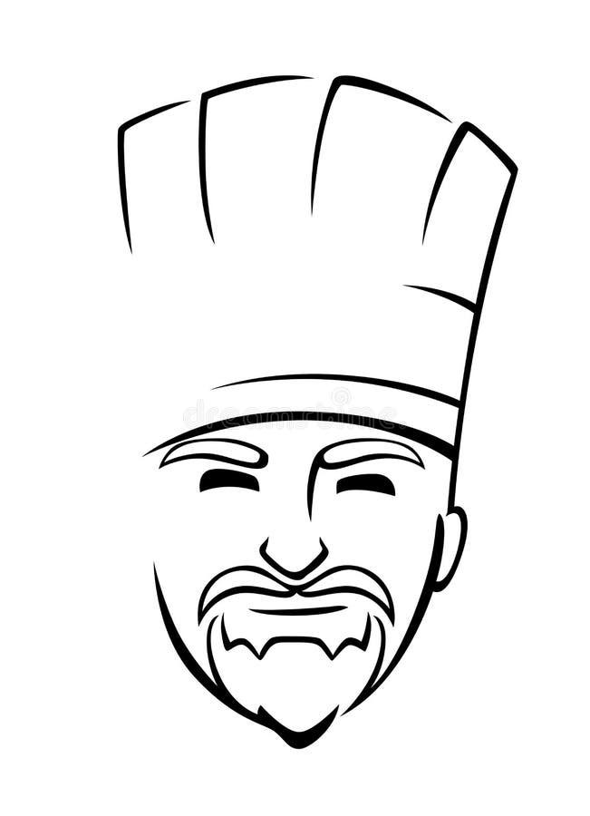 Brodaty szef kuchni z toque royalty ilustracja