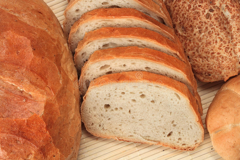 Broden van brood en broodjes royalty-vrije stock foto's