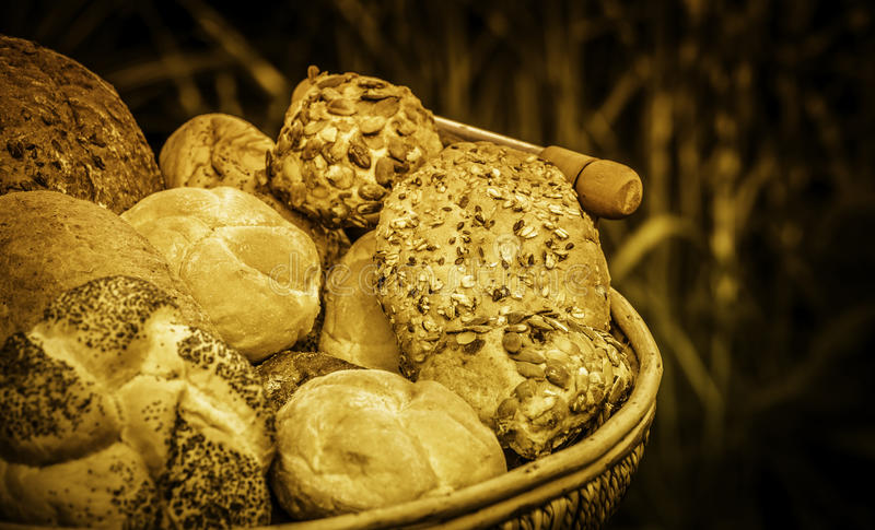 Broden van brood en broodjes royalty-vrije stock fotografie