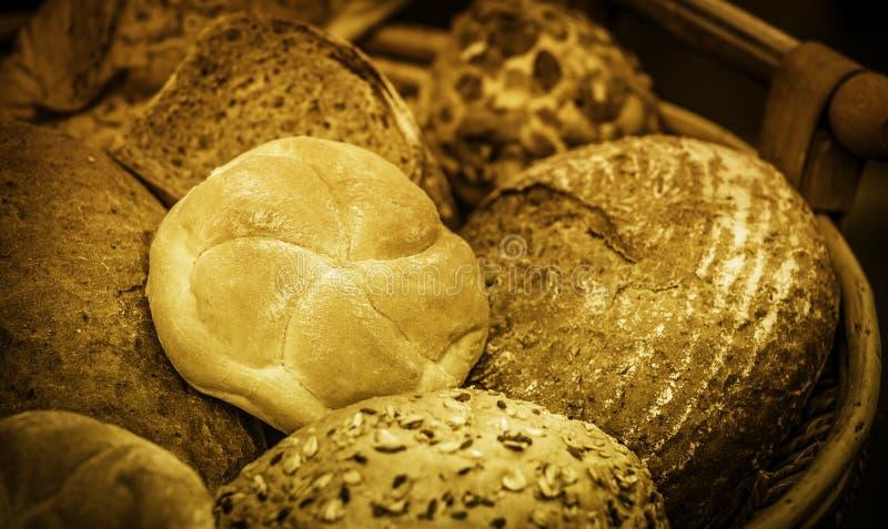 Broden van brood en broodjes stock foto's