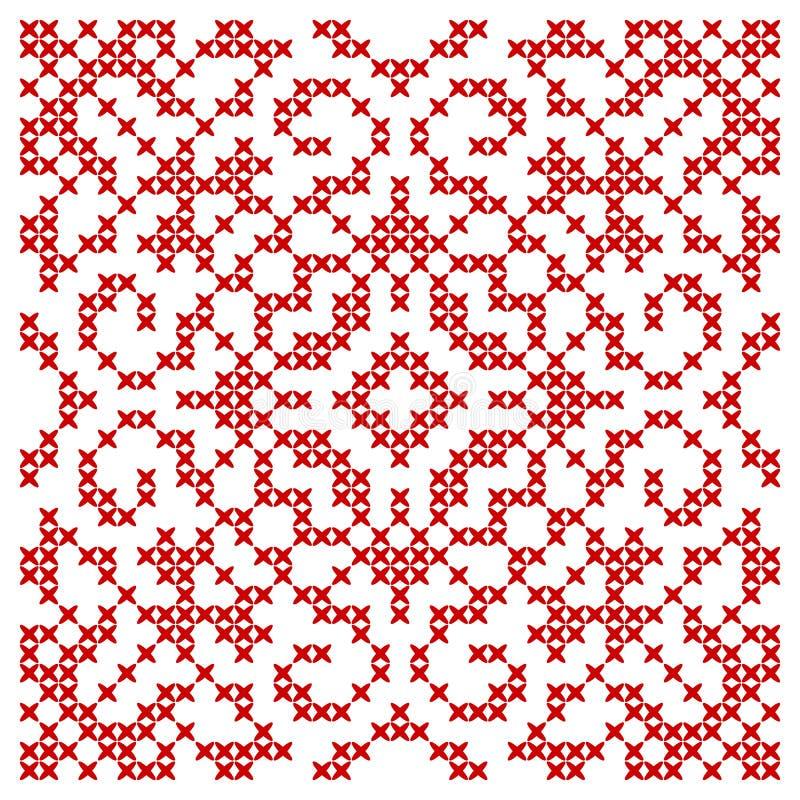 Broderad etnisk symmetrisk prydnad Arg häftklammermodell vektor illustrationer