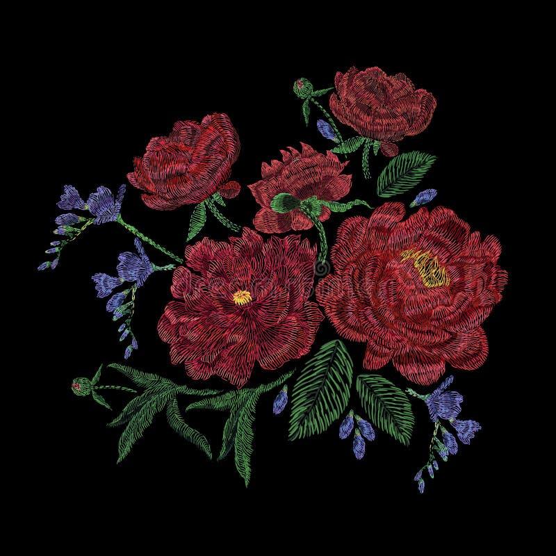 Broderad sammansättning med pioner, lösa och trädgårds- blommor, knoppar och sidor Broderi för satänghäftklammer, blom- design vektor illustrationer
