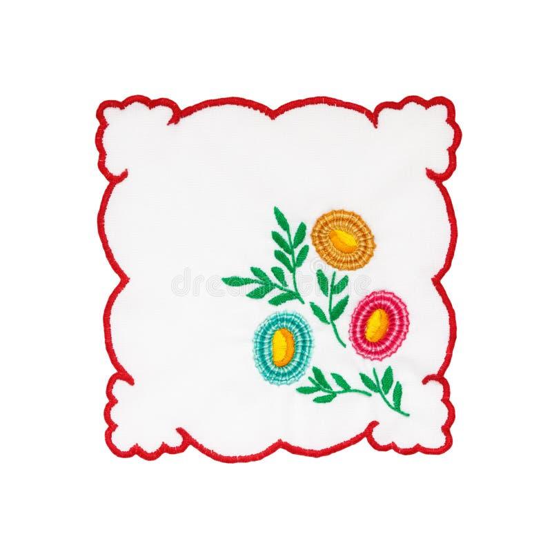 Broderad tablecloth royaltyfri bild