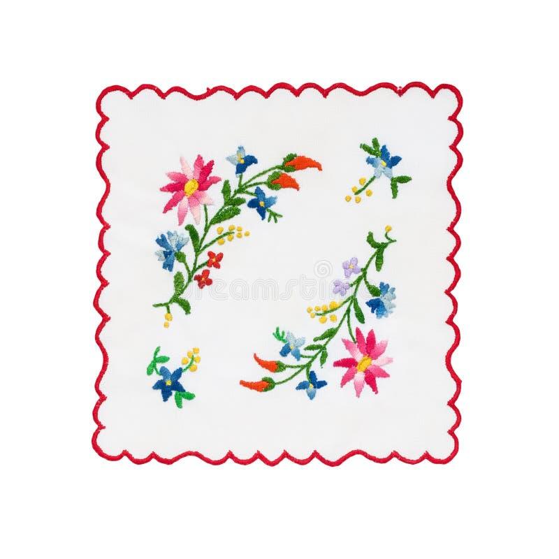 Broderad tablecloth royaltyfri foto