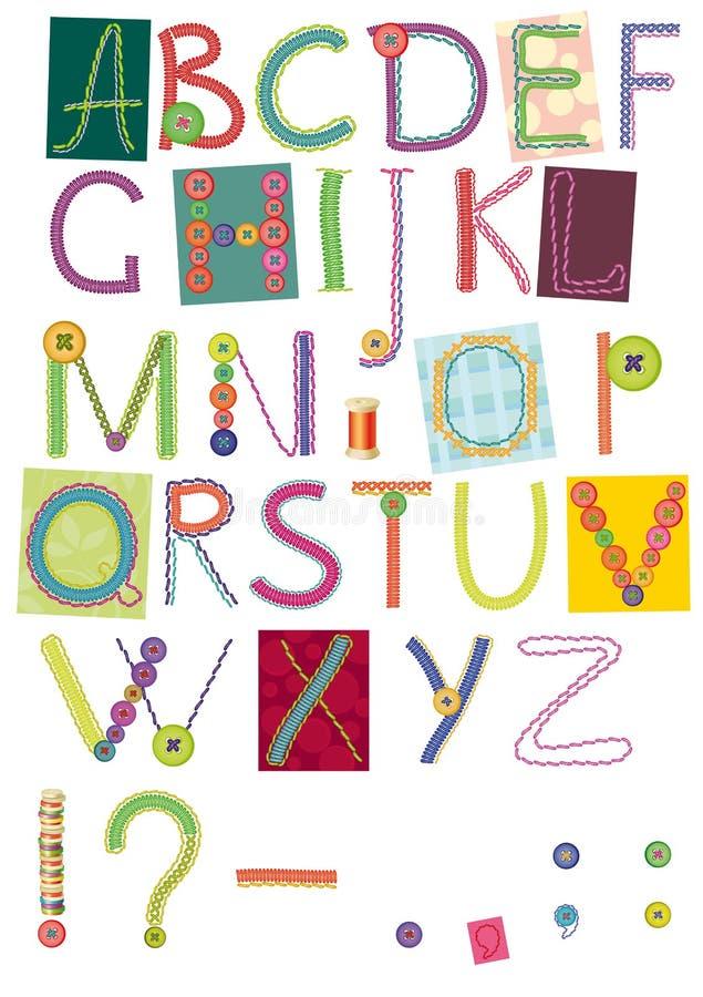 broderade bokstäver royaltyfri illustrationer