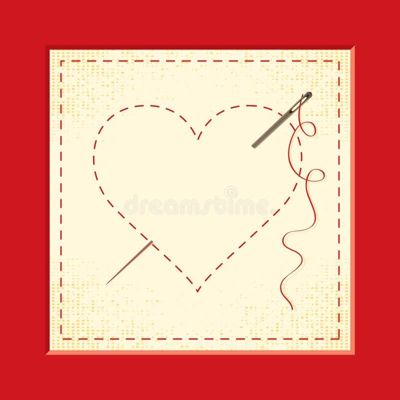broderade hjärtor royaltyfri illustrationer