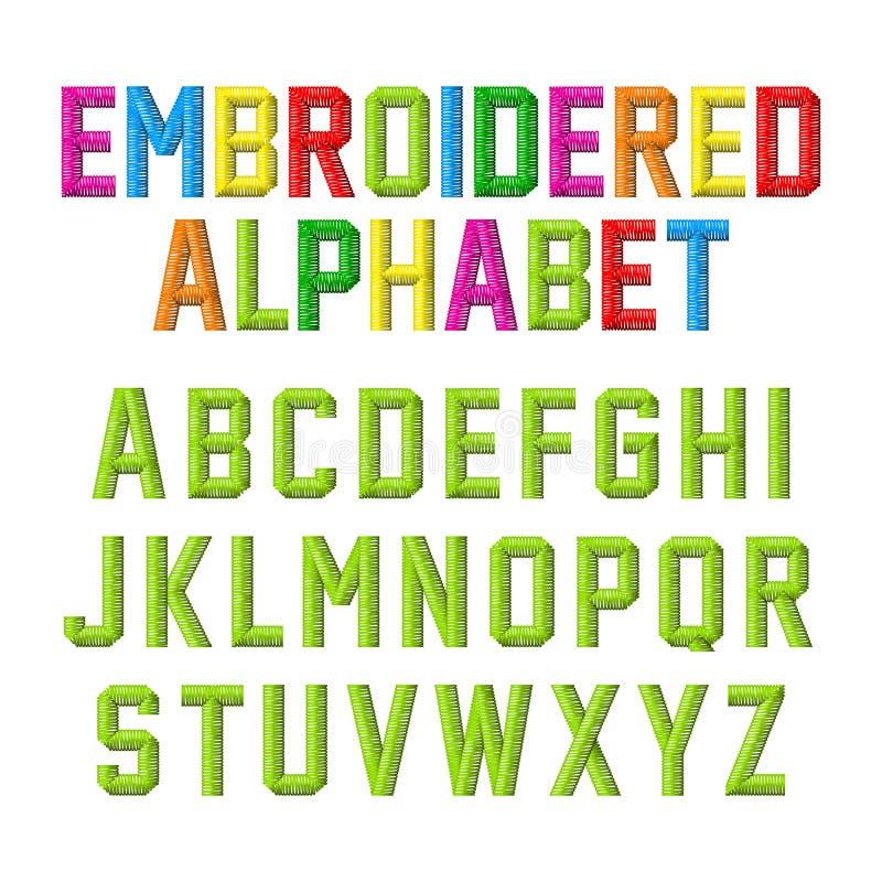 Broderat alfabet stock illustrationer