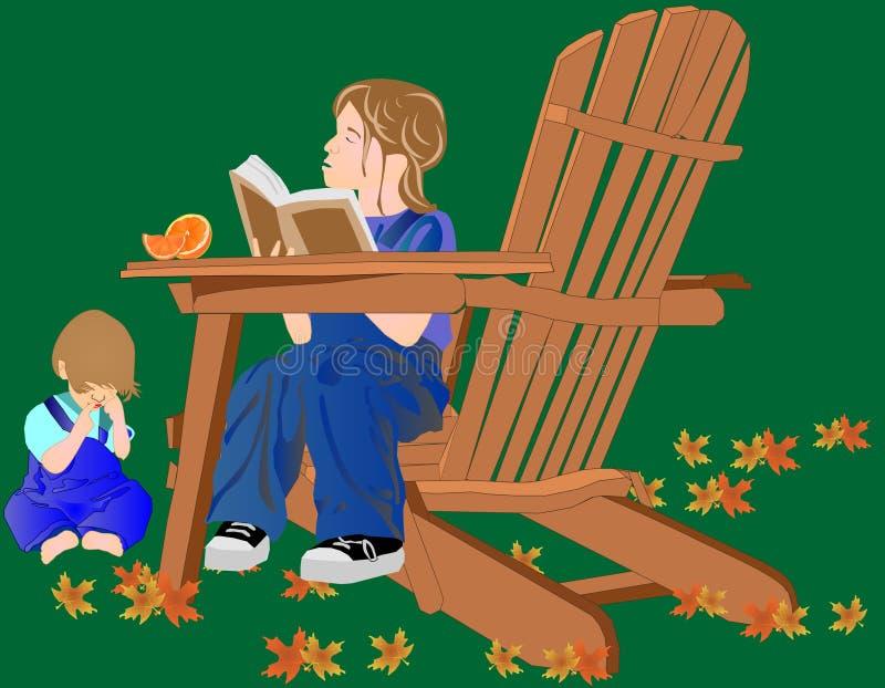broderflicka henne avläsning till barn stock illustrationer