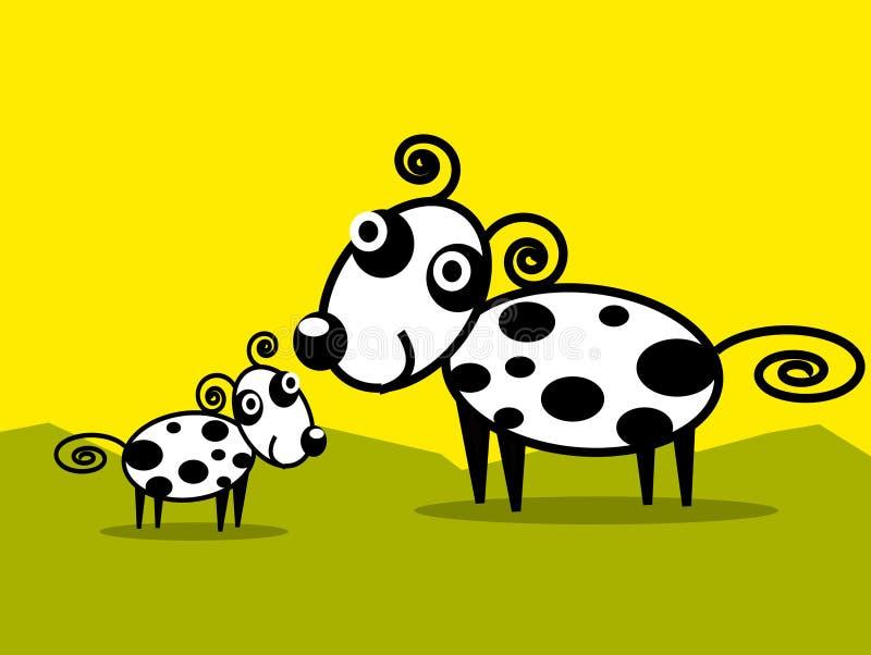 broderhundfamilj s royaltyfri illustrationer