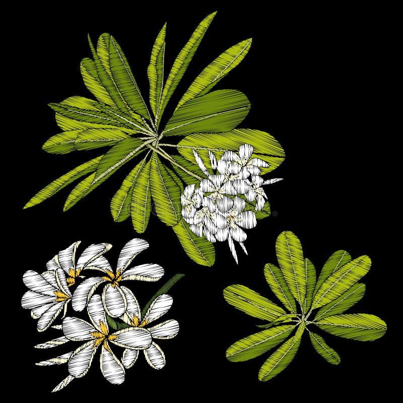 broderi Broderade designbeståndsdelar med den tropiska växten royaltyfri illustrationer