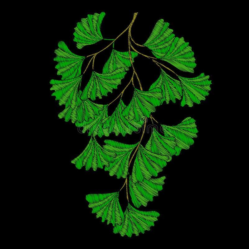 broderi Broderade designbeståndsdelar med den tropiska växten stock illustrationer