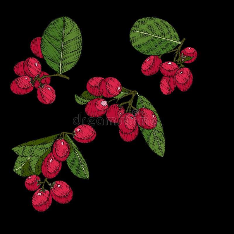 broderi Broderade designbeståndsdelar med den tropiska växten vektor illustrationer