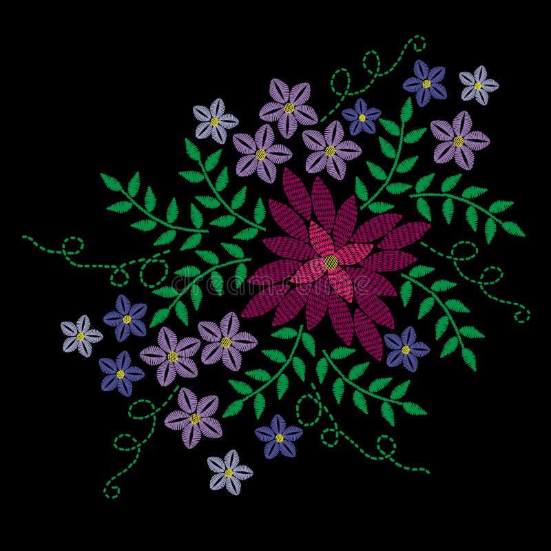 Broderi syr efterföljd med den färgrika blomma- och gräsplanbetesmarken vektor illustrationer