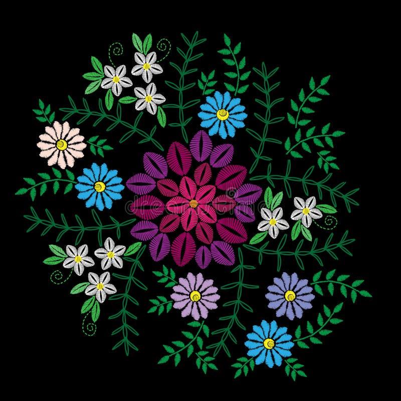 Broderi syr efterföljd med den färgrika blomman, gräs stock illustrationer