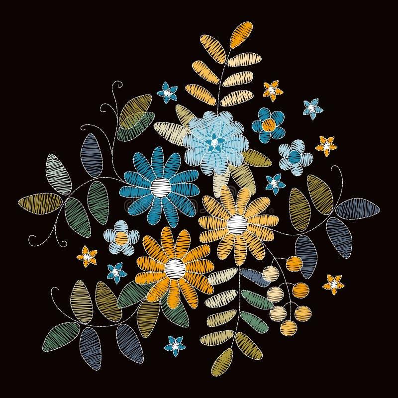 broderia Bukiet z pięknymi kwiatami, liśćmi i jagodami, Delikatny kwiecisty skład ilustracji