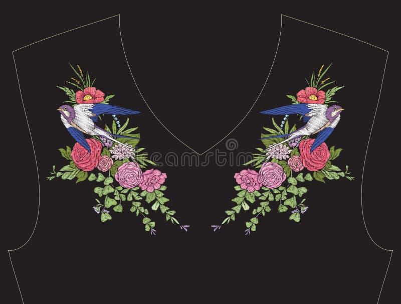 Broderia dla neckline, kołnierz dla koszulki, bluzka, koszula royalty ilustracja