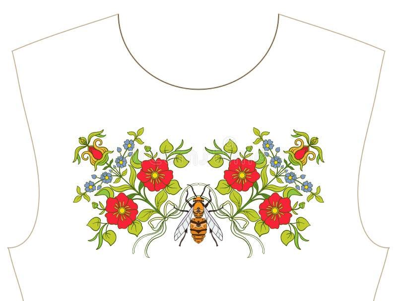 Broderia dla neckline, kołnierz dla koszulki, bluzka, koszula Patt ilustracji
