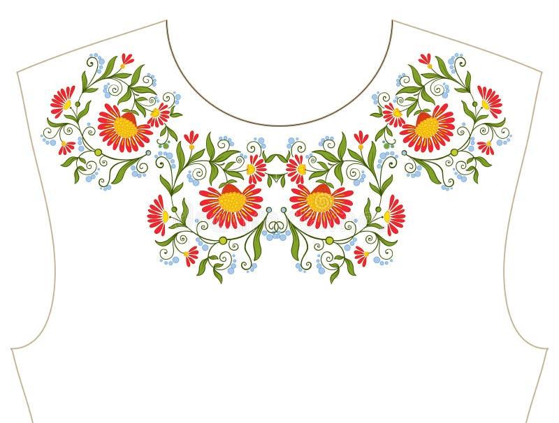 Broderia dla neckline, kołnierz dla koszulki, bluzka, koszula Patt royalty ilustracja