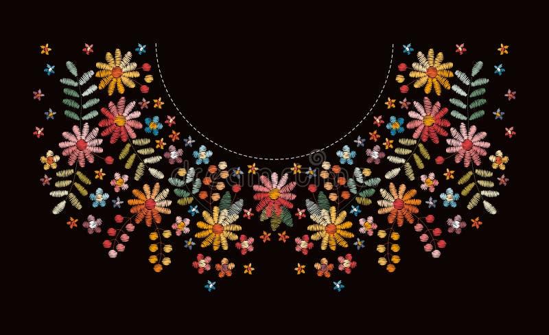 Broderia wzór z pięknymi kwiatami dla neckline Kwiecisty projekt dla mod koszulek i bluzek Etniczny upiększony druk royalty ilustracja